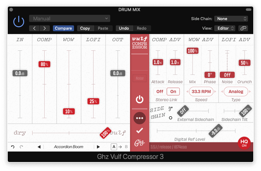 compressor settings for snare - screenshot of vulf compressor by goodhertz
