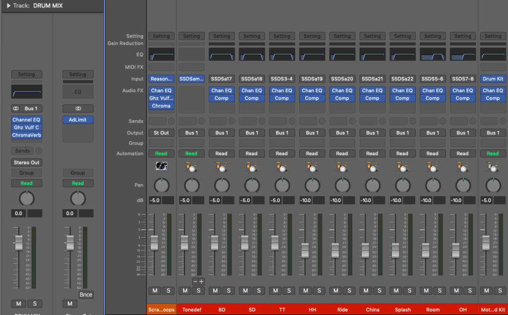 compressor settings for snare - screenshot of my sub-mix for drum kit