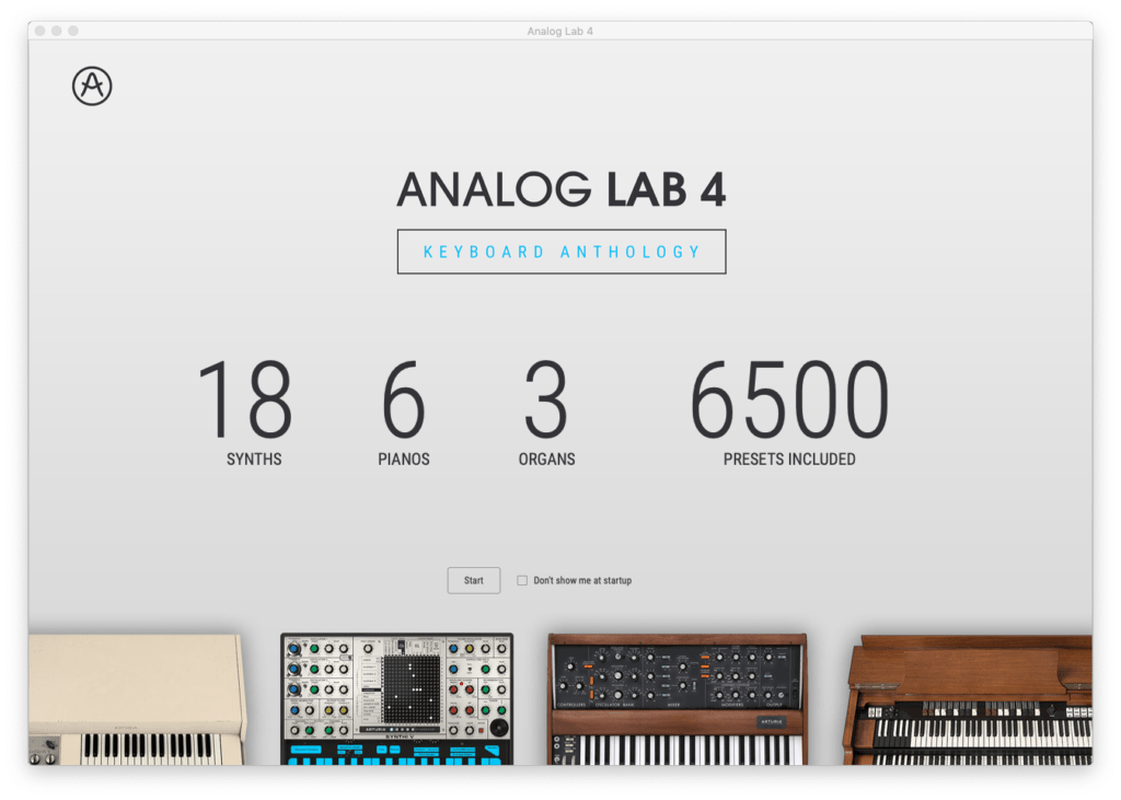 best way to record keyboard at home - arturia analog lab welcome screen