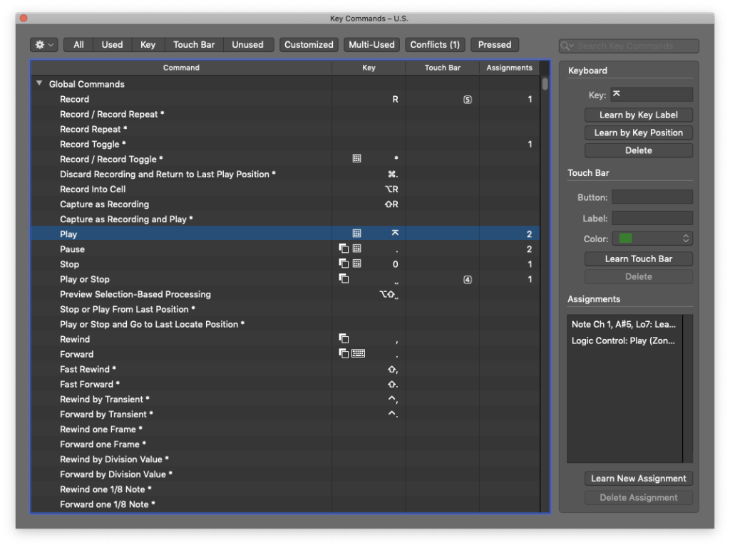 how to control logic pro with android - logic pro x edit key commands