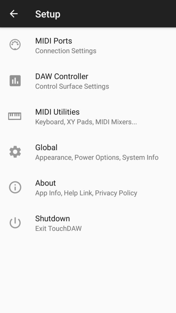 how to control logic pro with android - touchdaw settings 1