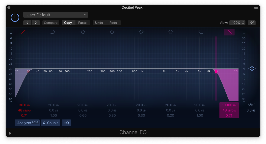 how to mix bass guitar in logic pro x - channel eq settings for bass guitar