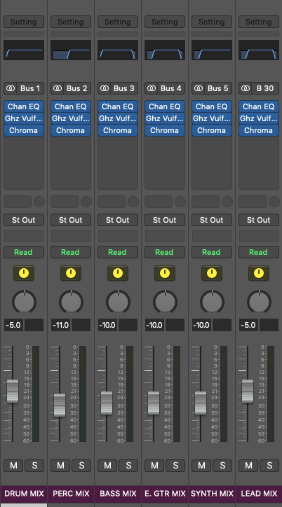 sub mixing busses 1